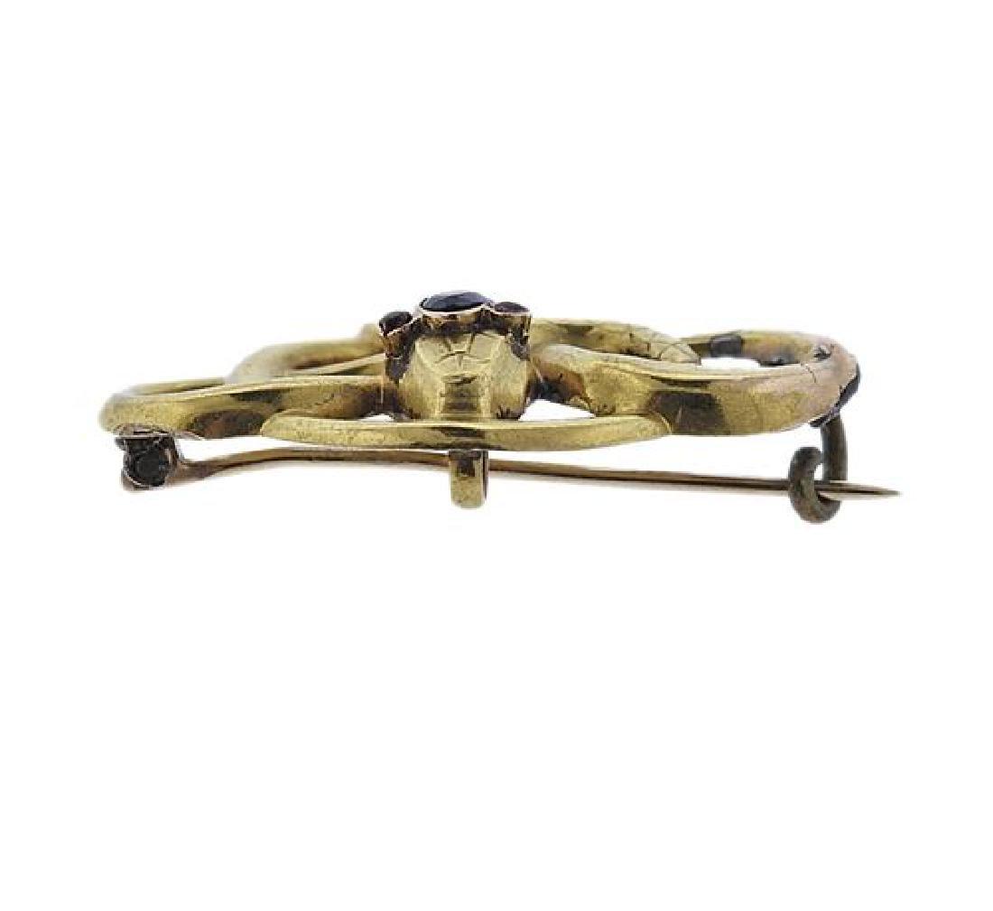 Antique Victorian 18K Gold Gemstone Snake Brooch - 2