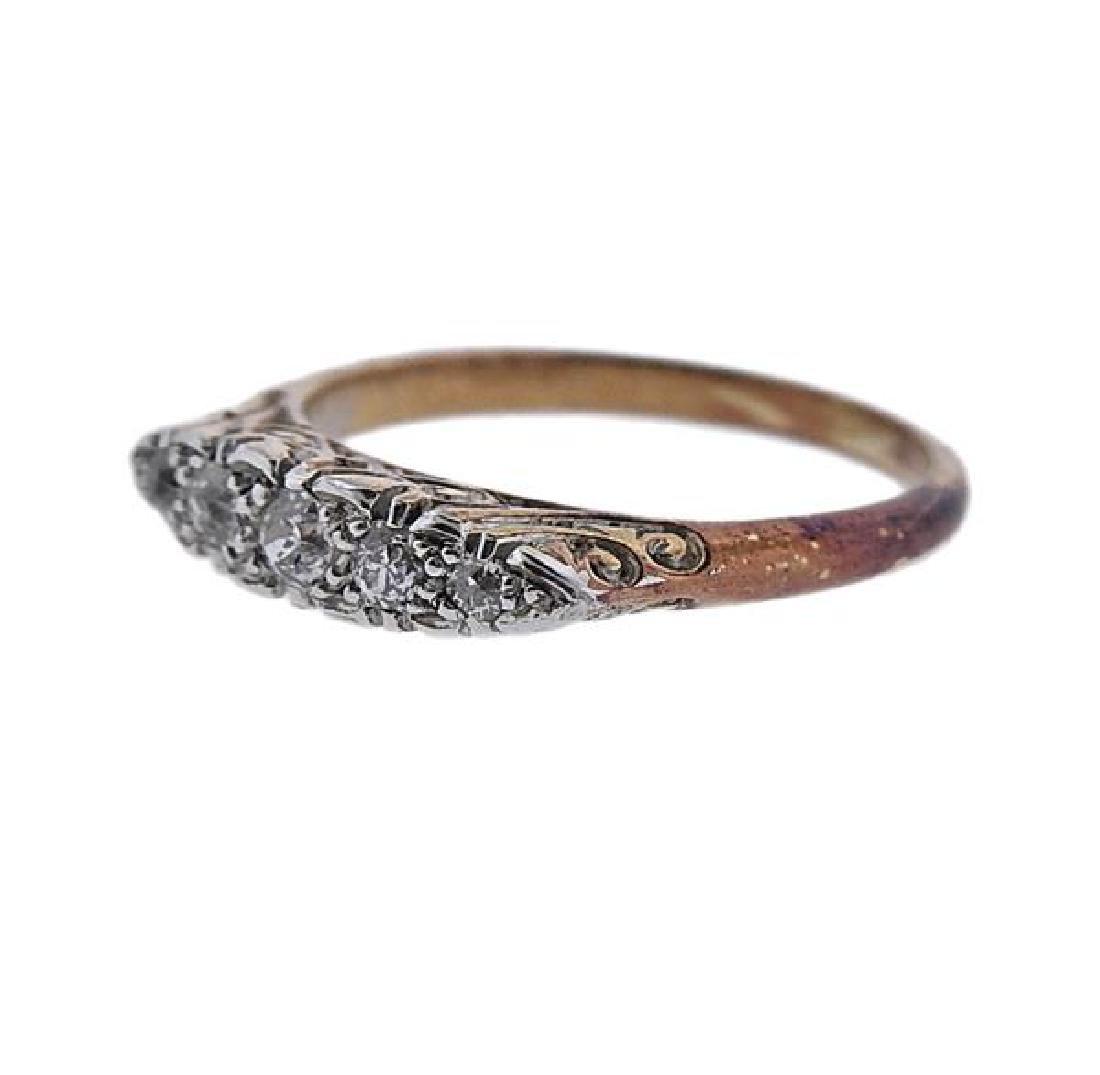 18K Gold Platinum Diamond Ring - 2