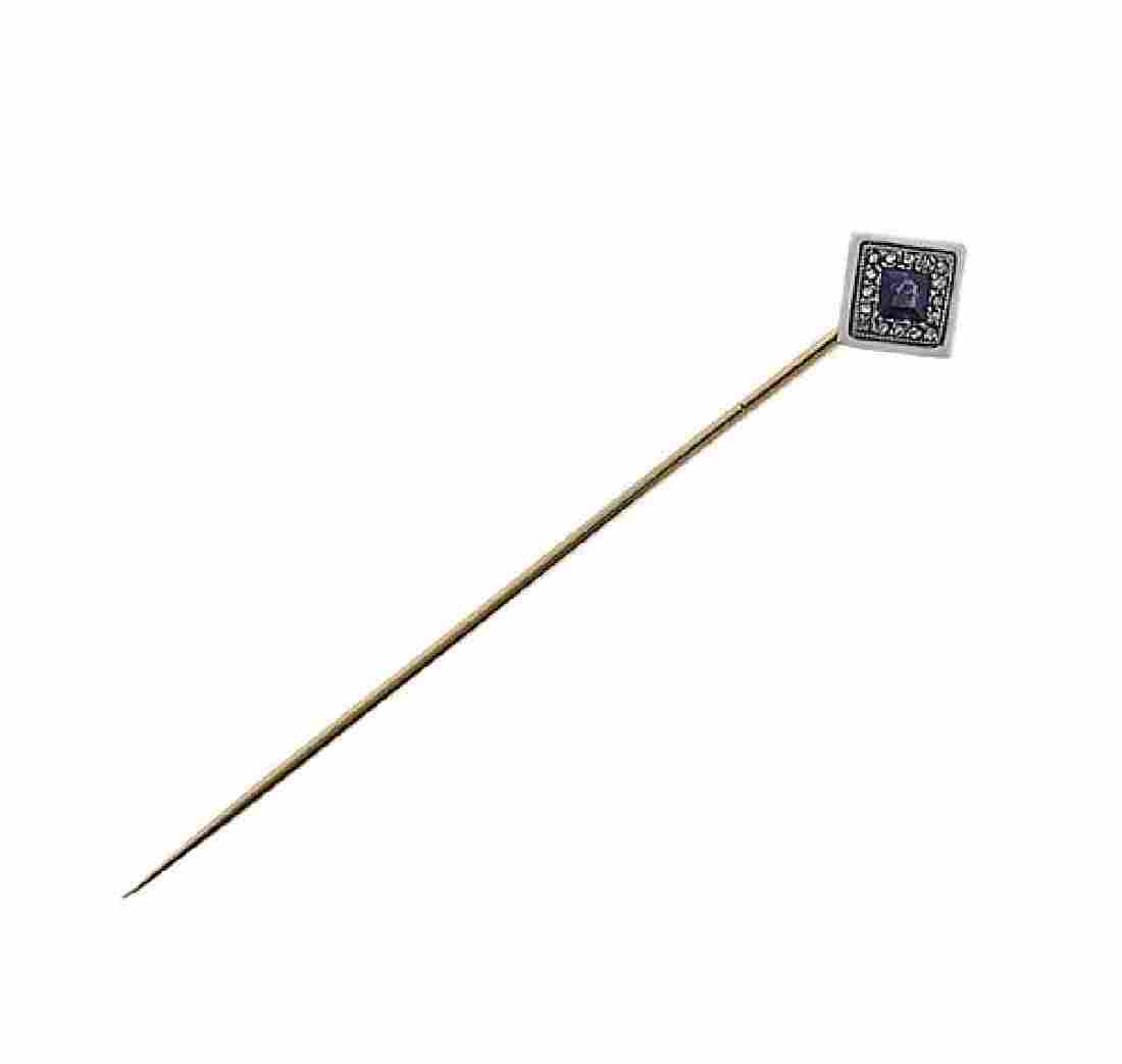 Lacloche France 18k Gold Diamond Sapphire Stick Pin