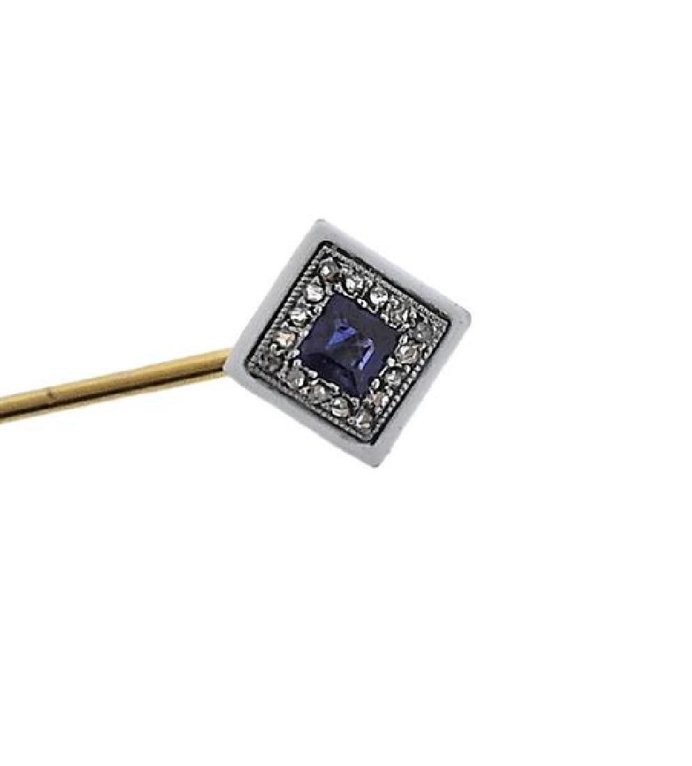 Lacloche France 18k Gold Diamond Sapphire Stick Pin - 2