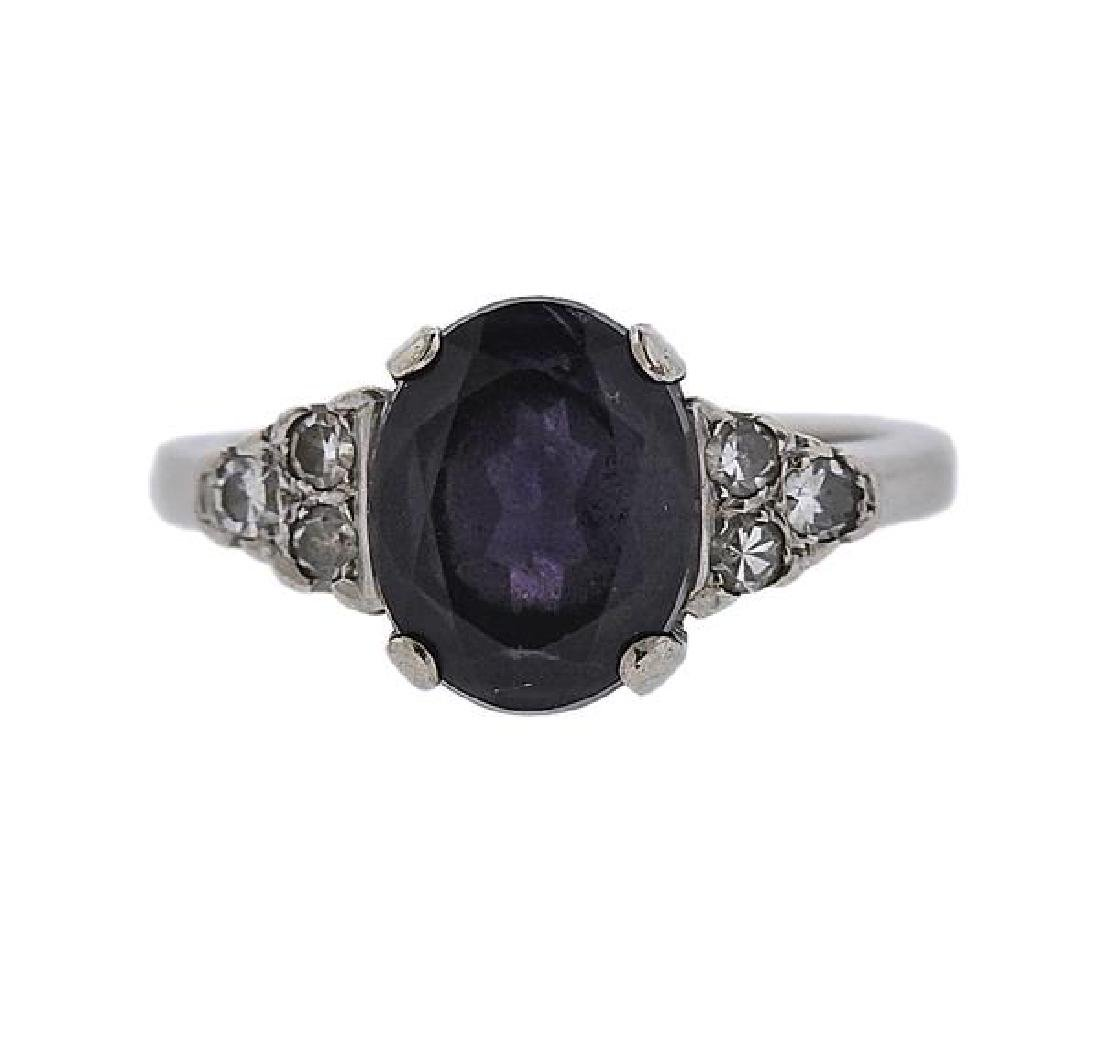 14k Gold Diamond Purple Stone Ring