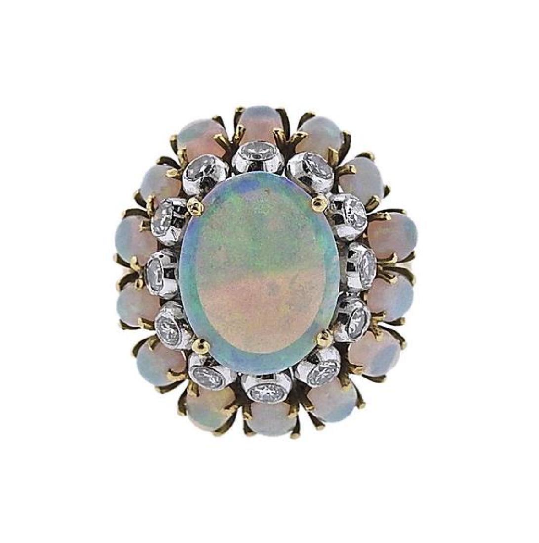 18k Gold Opal Diamond Cocktail Ring