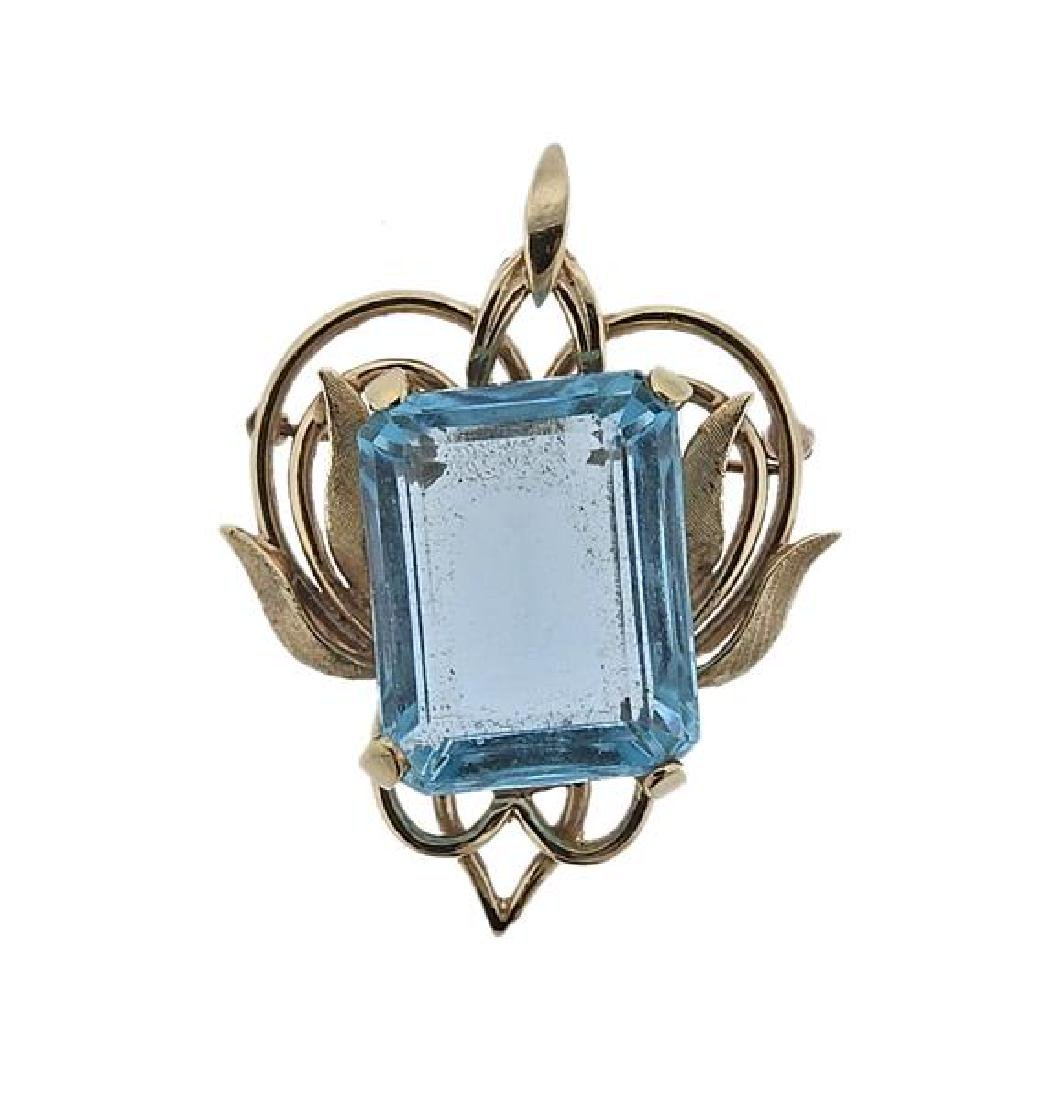14K Gold Blue Gemstone Pendant Brooch