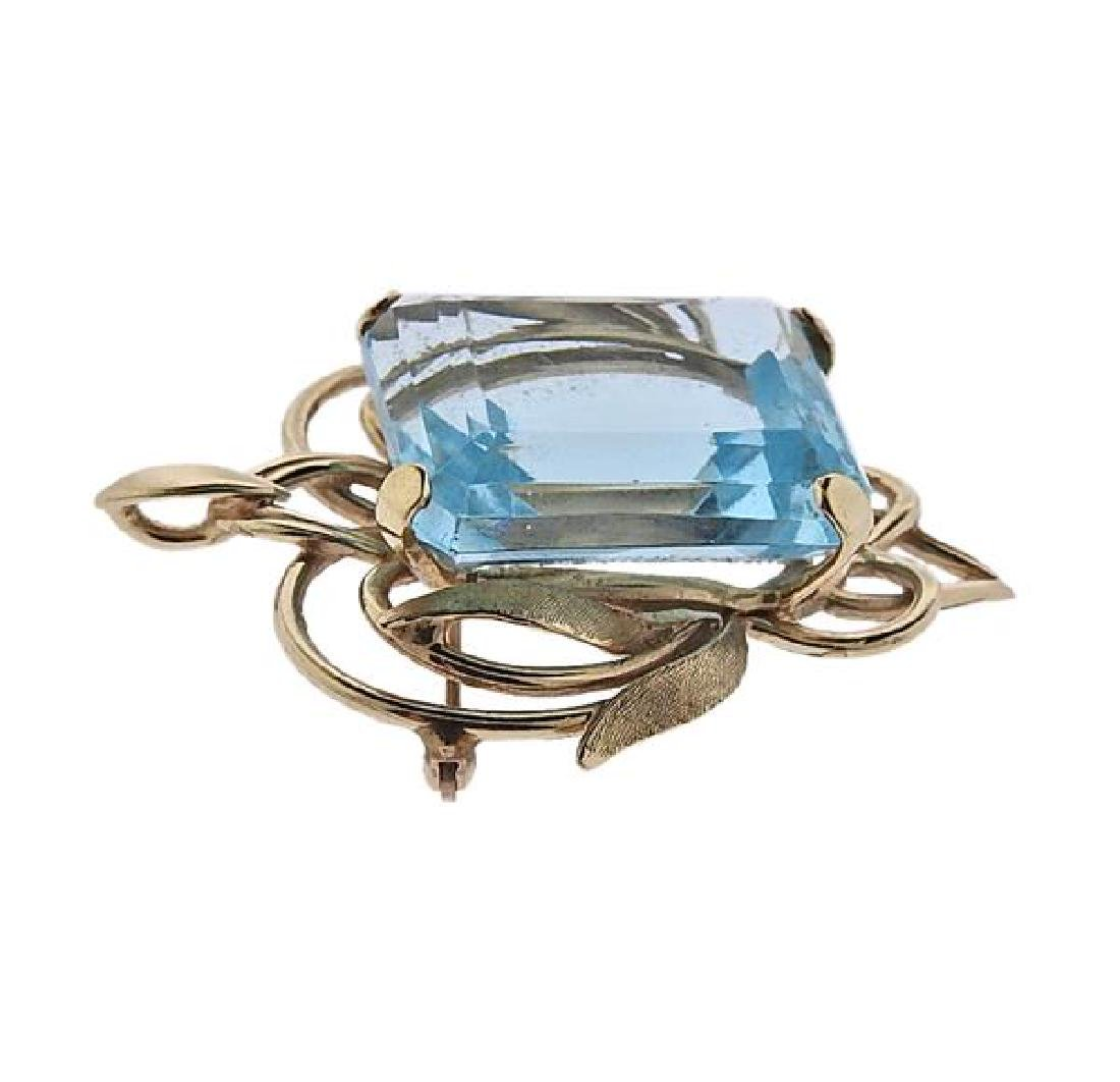 14K Gold Blue Gemstone Pendant Brooch - 2