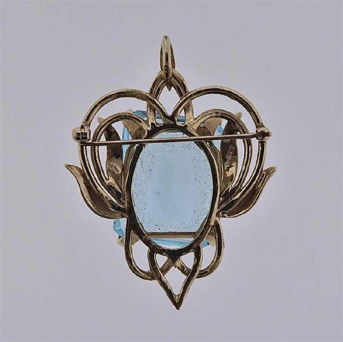 14K Gold Blue Gemstone Pendant Brooch - 3