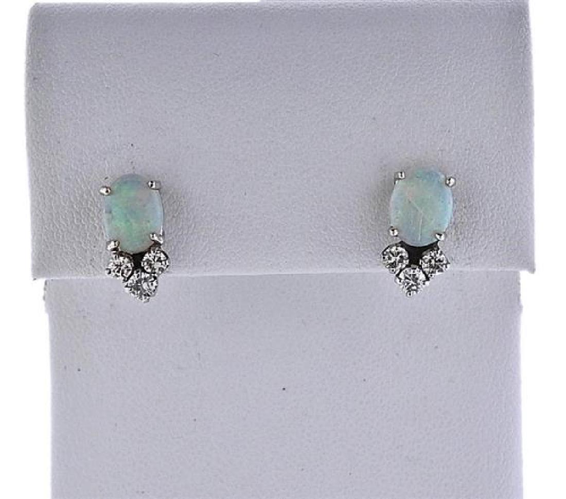 14k Gold Diamond Opal Earrings