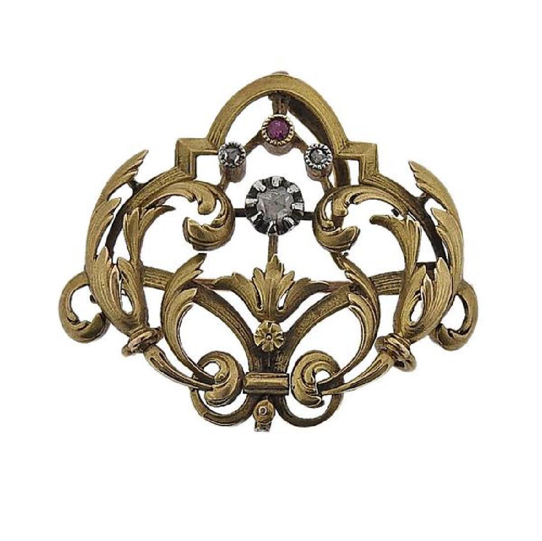 Art Nouveau 18K Gold Diamond Red Stone Brooch Pendant