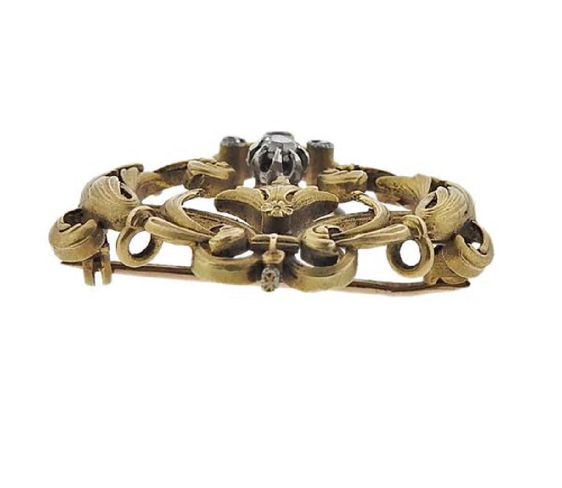 Art Nouveau 18K Gold Diamond Red Stone Brooch Pendant - 2