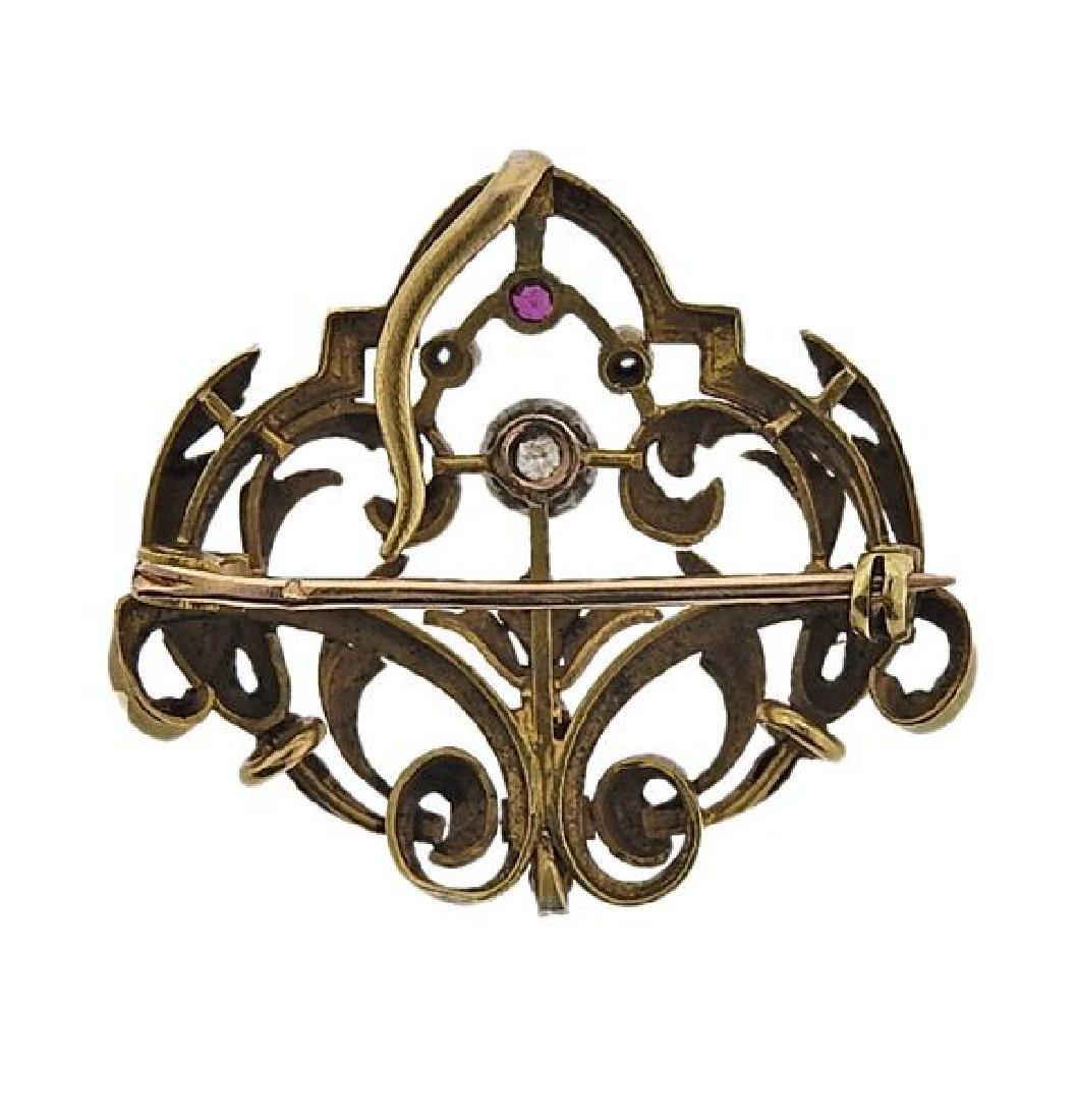 Art Nouveau 18K Gold Diamond Red Stone Brooch Pendant - 3