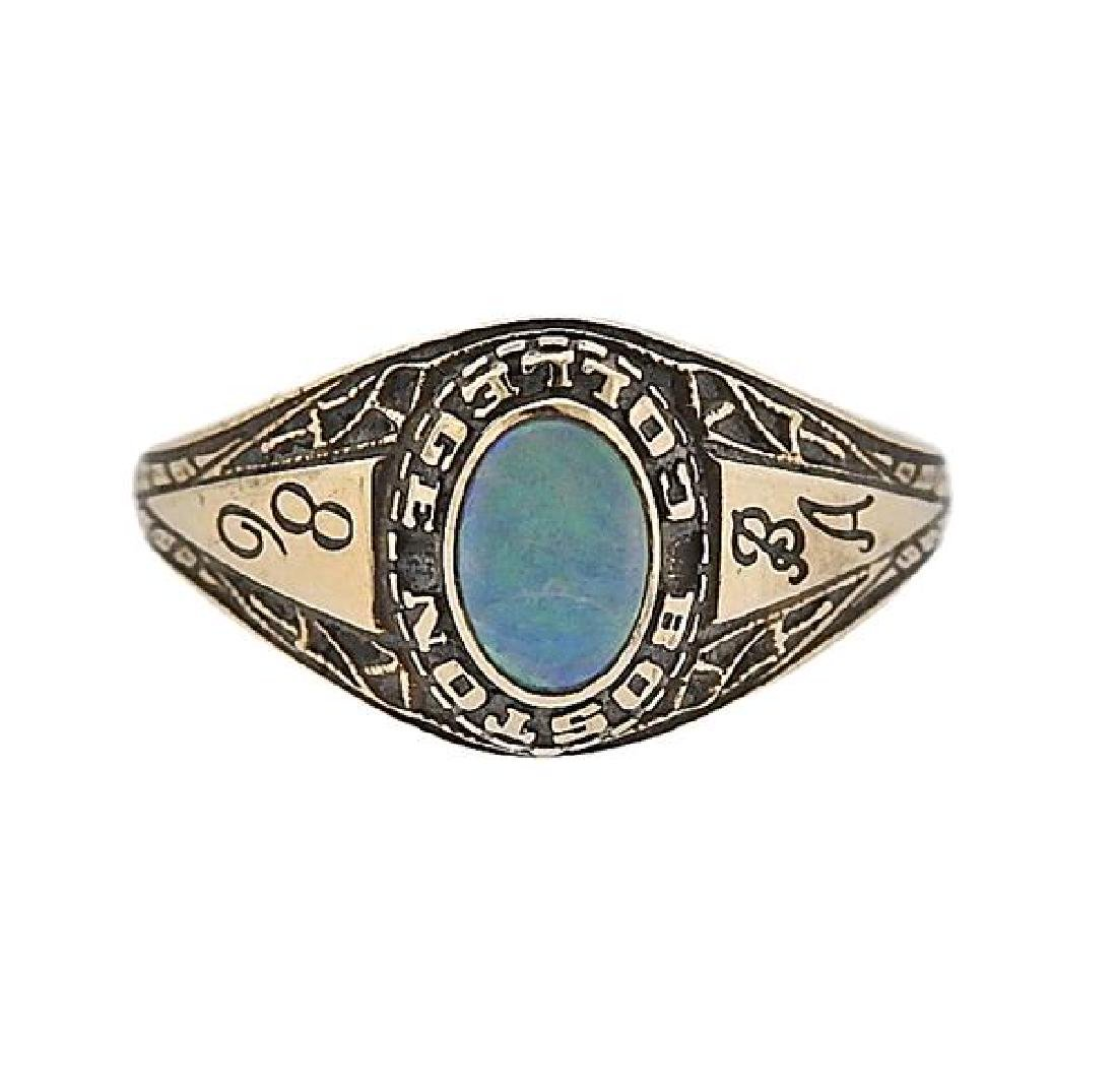 14K Gold Opal Boston College Ring