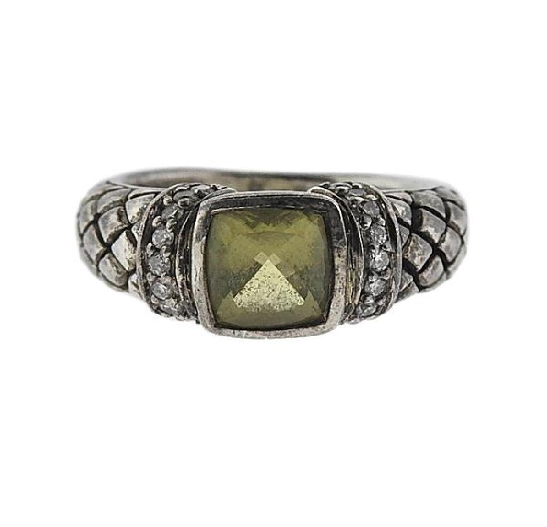 Scott Kay Sterling Silver Yellow Stone Ring
