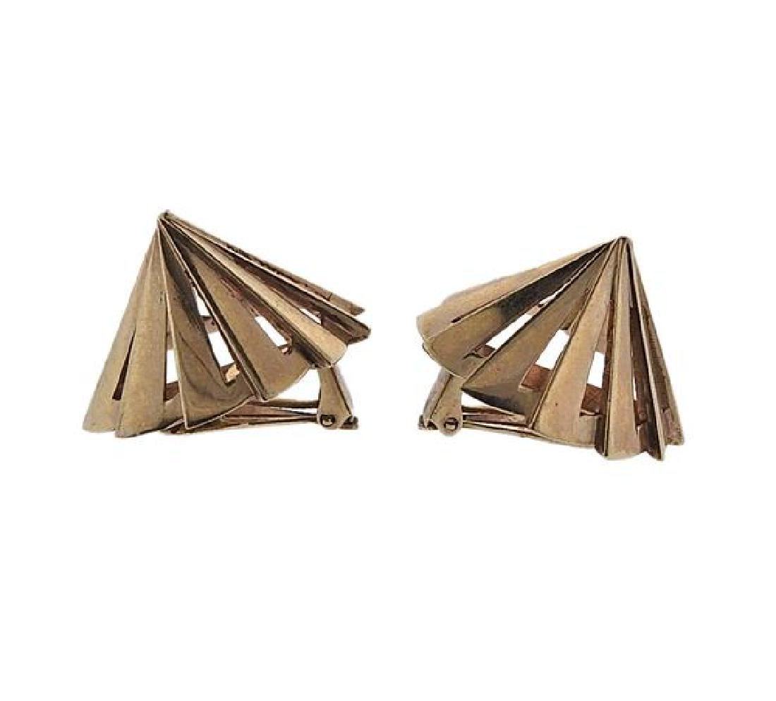 Retro 14K Gold Cone Earrings - 2