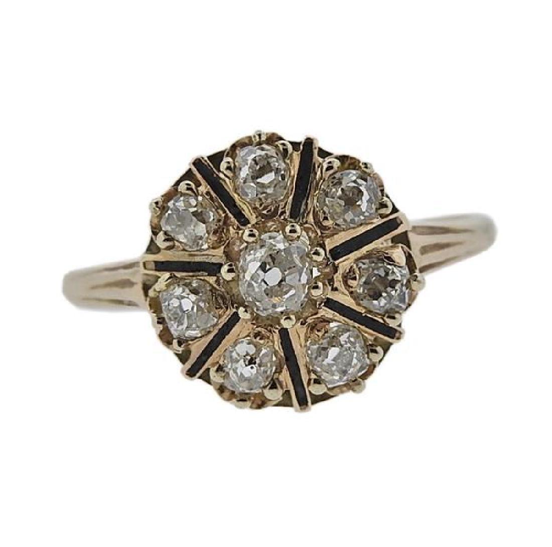 Antique 14K Gold Diamond Flower Ring