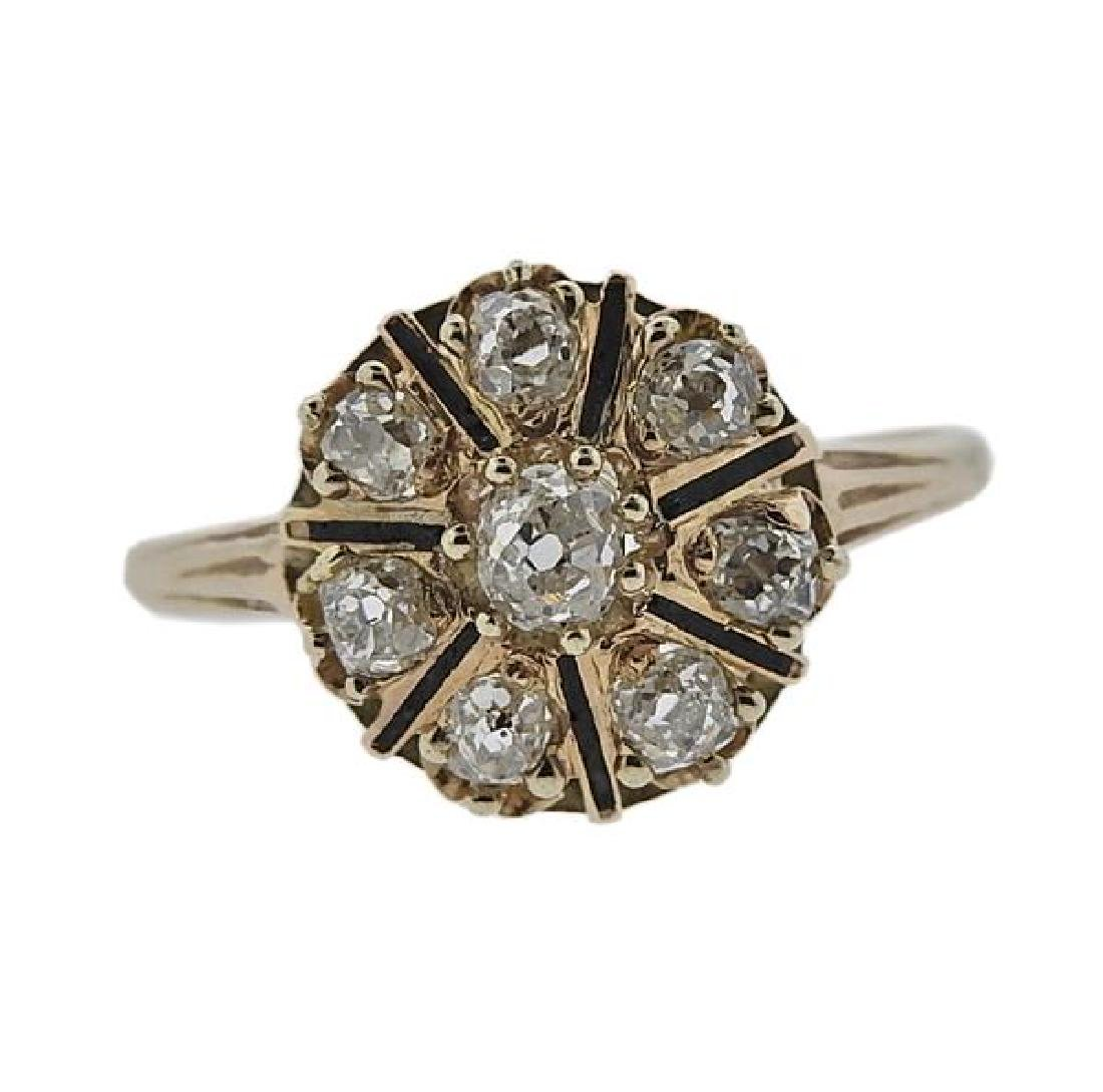 Antique 14K Gold Diamond Flower Ring