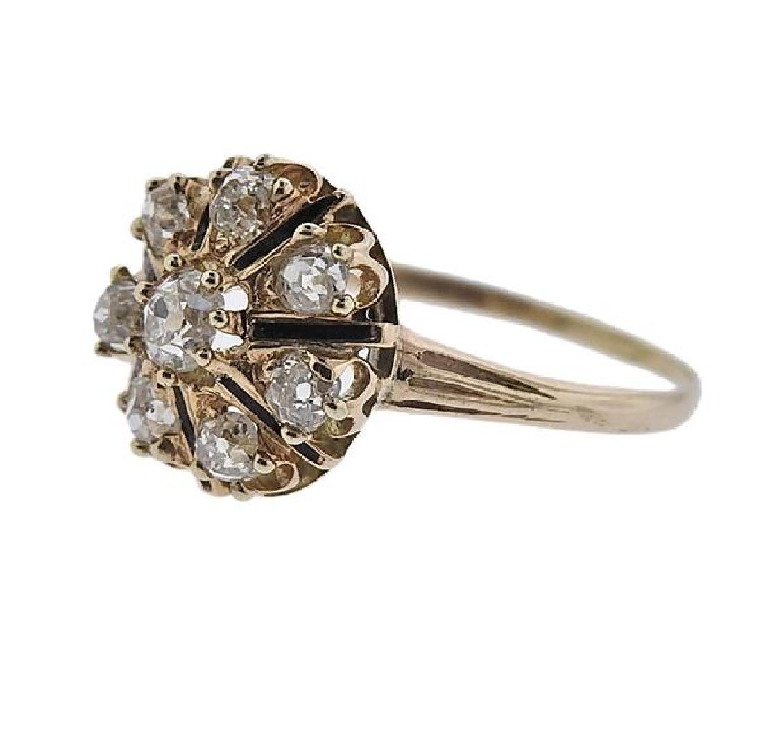 Antique 14K Gold Diamond Flower Ring - 2