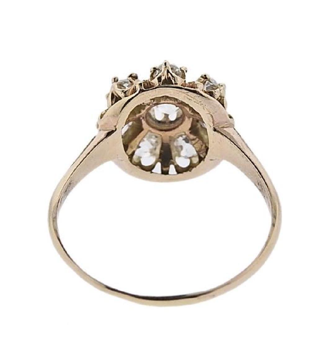 Antique 14K Gold Diamond Flower Ring - 3