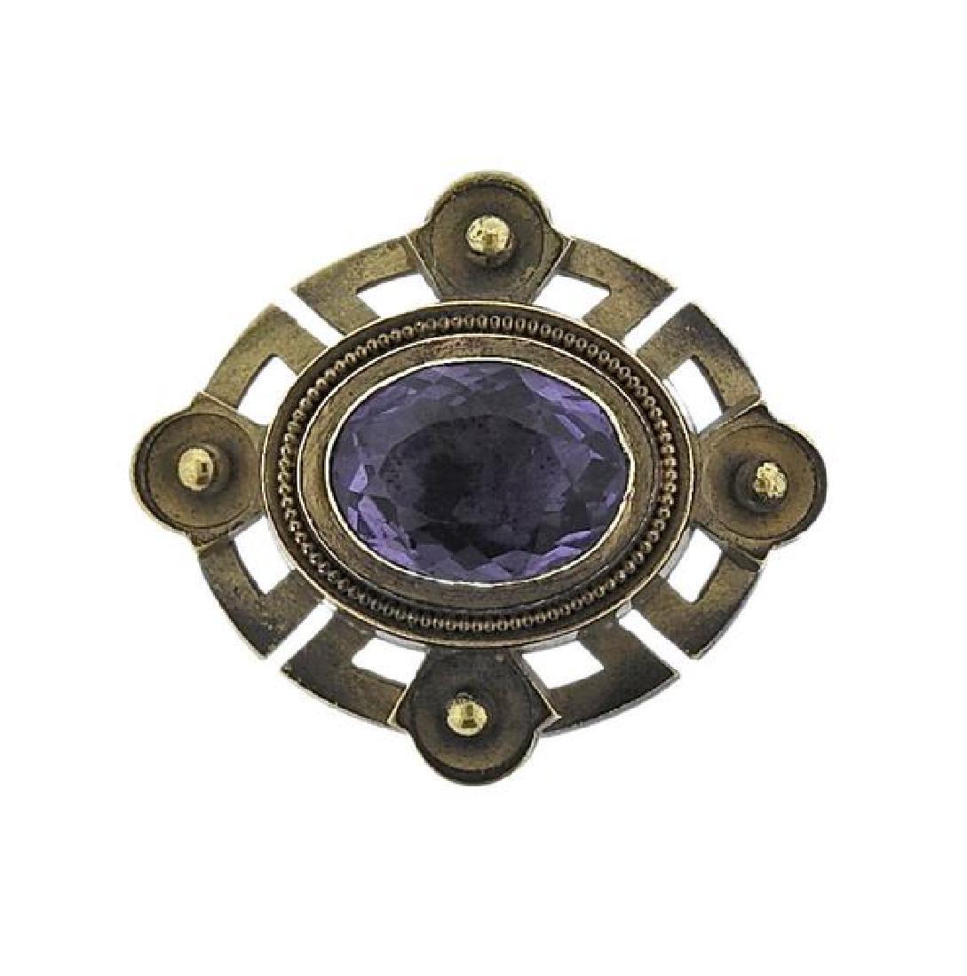 Antique 18k Gold Purple Stone Brooch