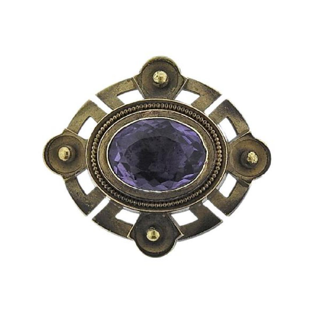Antique 18k Gold Purple Stone Brooch