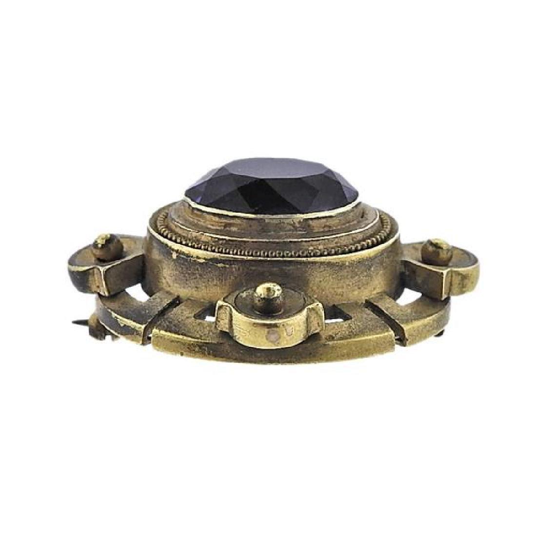 Antique 18k Gold Purple Stone Brooch - 2