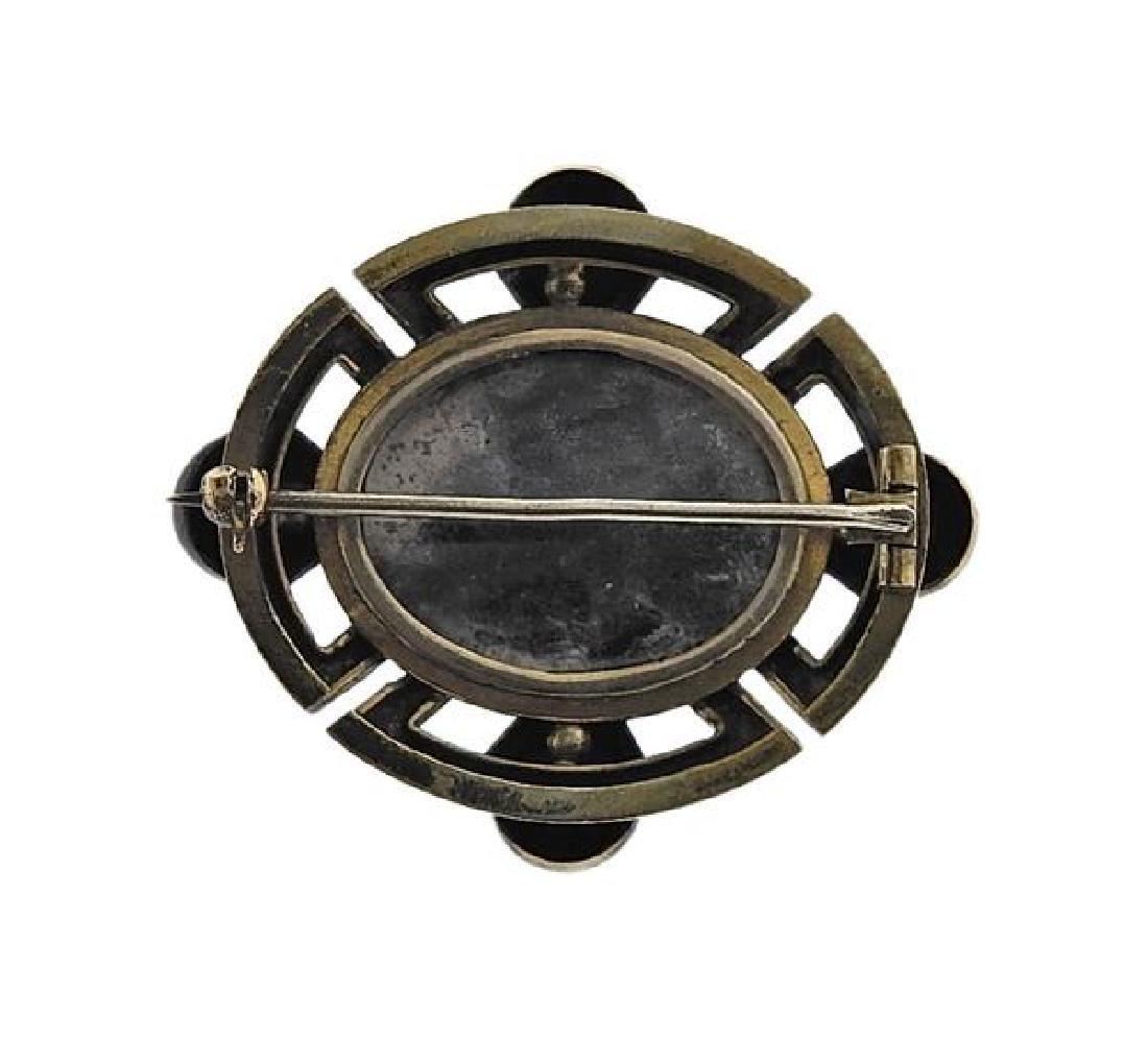 Antique 18k Gold Purple Stone Brooch - 3
