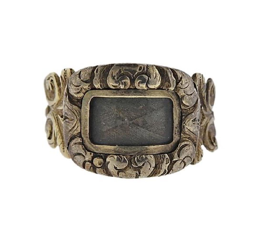 Antique 14K Gold Mourning Ring