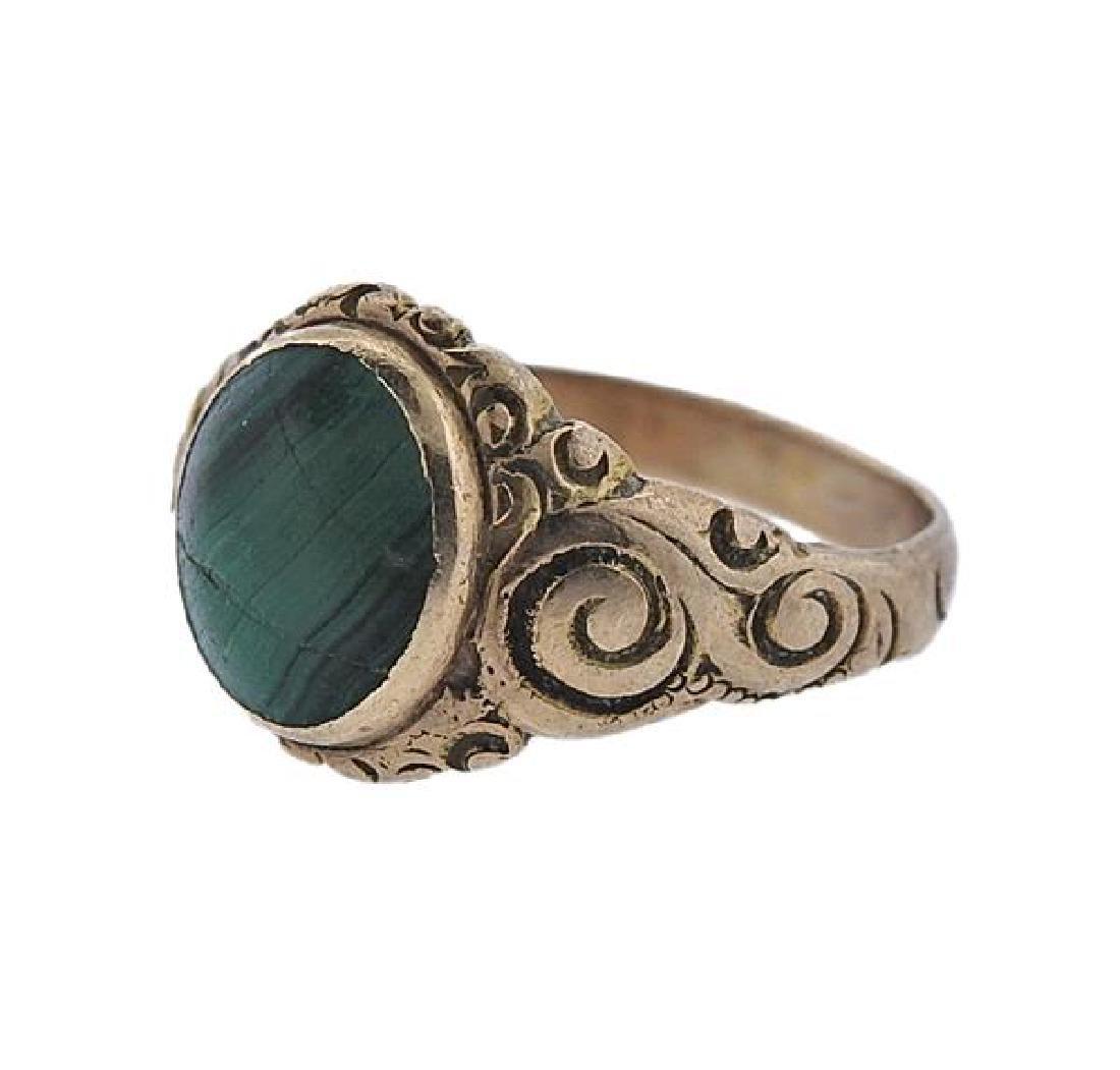 Antique 14k Gold Malachite Ring - 2