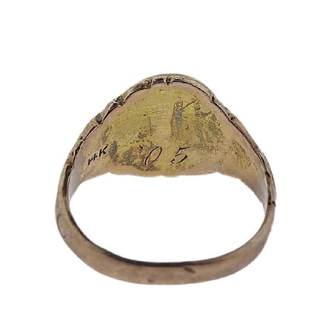 Antique 14k Gold Malachite Ring - 3