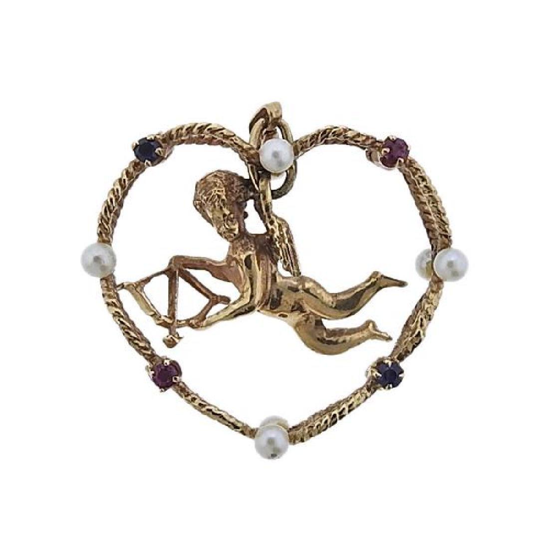 Retro 14k Gold Pearl Ruby Sapphire Cherub Pendant