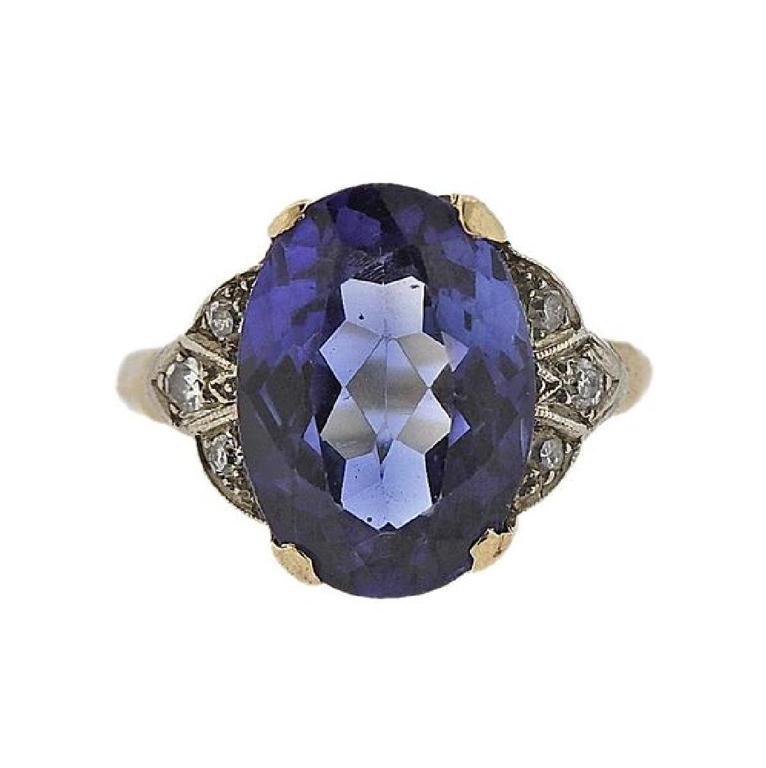 14k Gold Blue Stone Diamond Ring