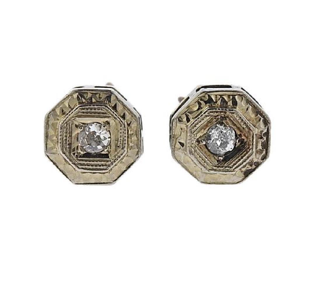 Art Deco 14k Gold Diamond Stud Earrings