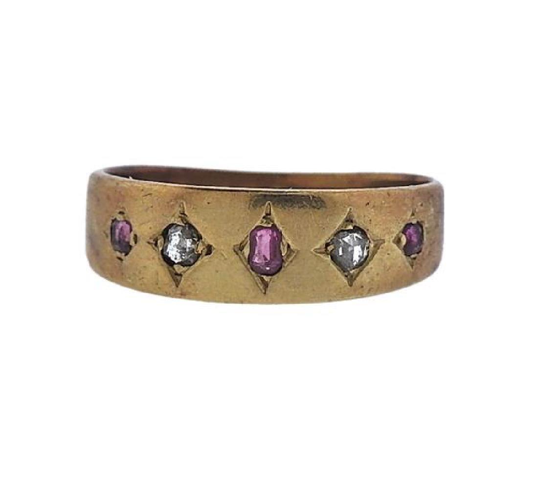 Antique 18k Gold Diamond Ruby Ring