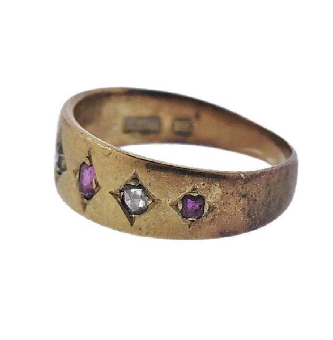 Antique 18k Gold Diamond Ruby Ring - 2