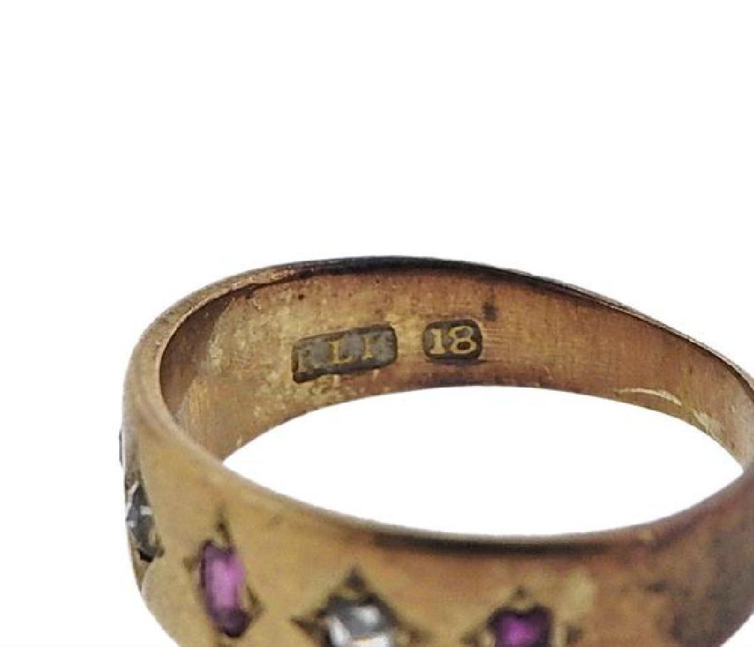 Antique 18k Gold Diamond Ruby Ring - 3