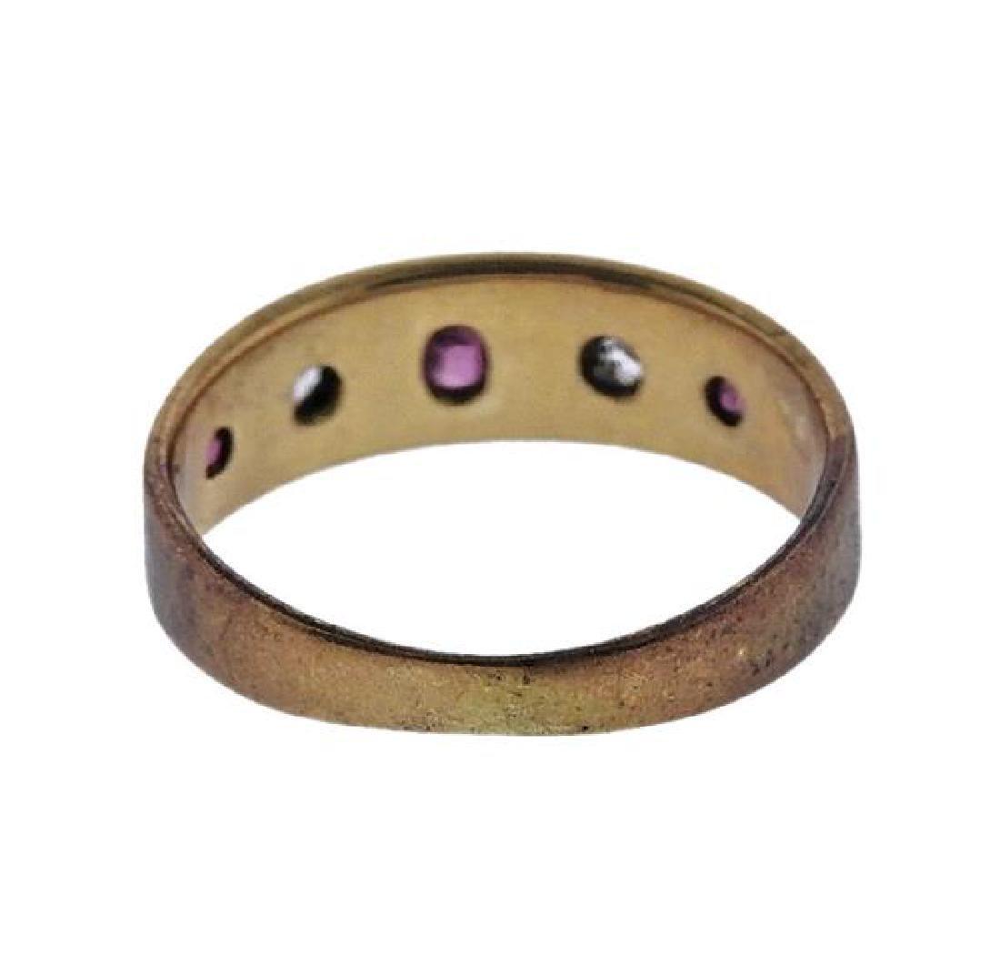 Antique 18k Gold Diamond Ruby Ring - 4