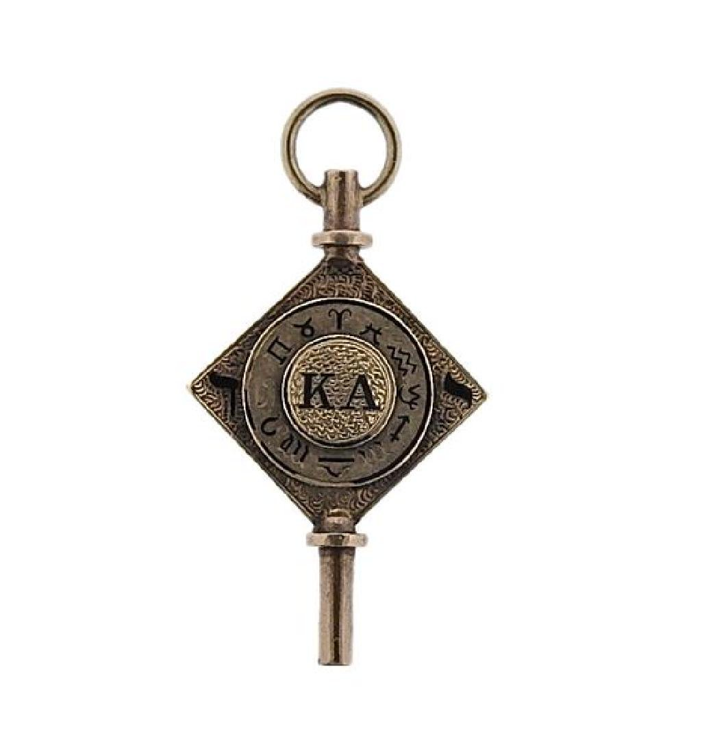 Antique 14K Gold Enamel Zodiac Pocket Watch Key