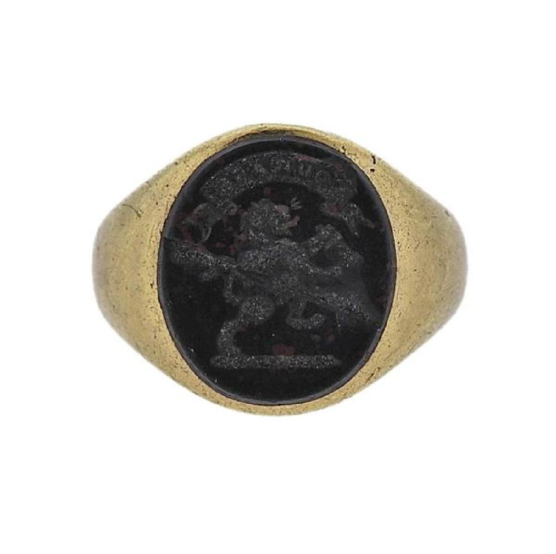 Antique 18k Gold Bloodstone Wax Seal Ring