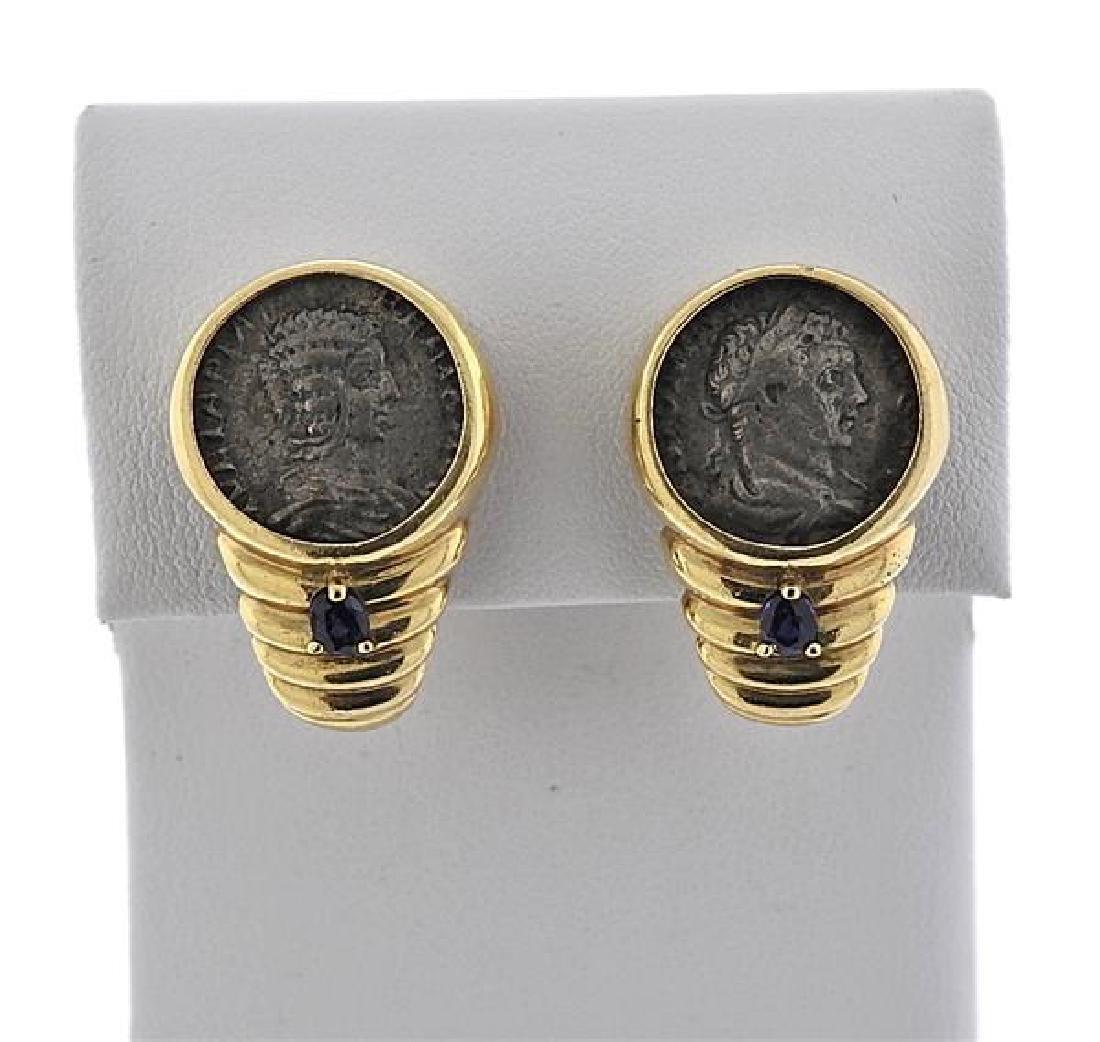 18k Gold Coin Sapphire Earrings