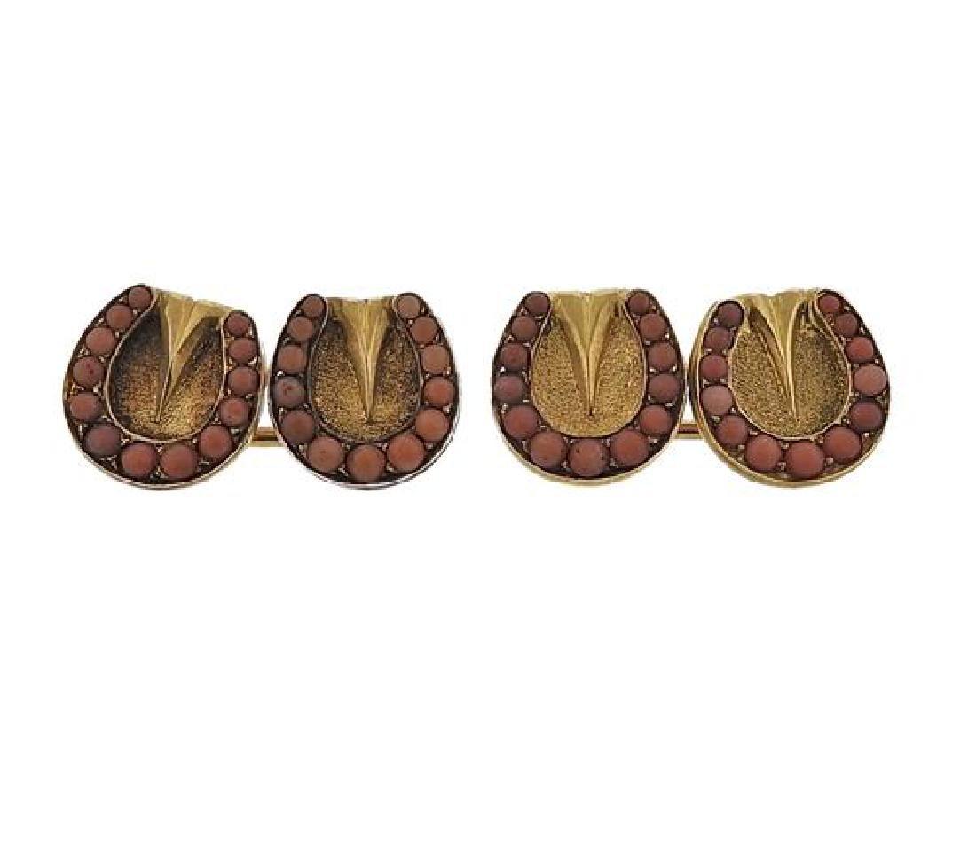 Antique 14K Gold Coral Cufflinks