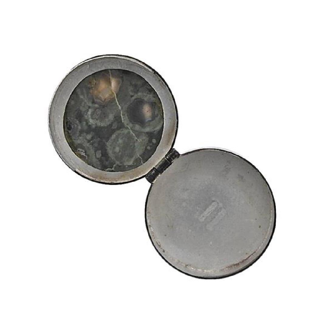 Mexican Sterling Green Stone Pill Box - 4
