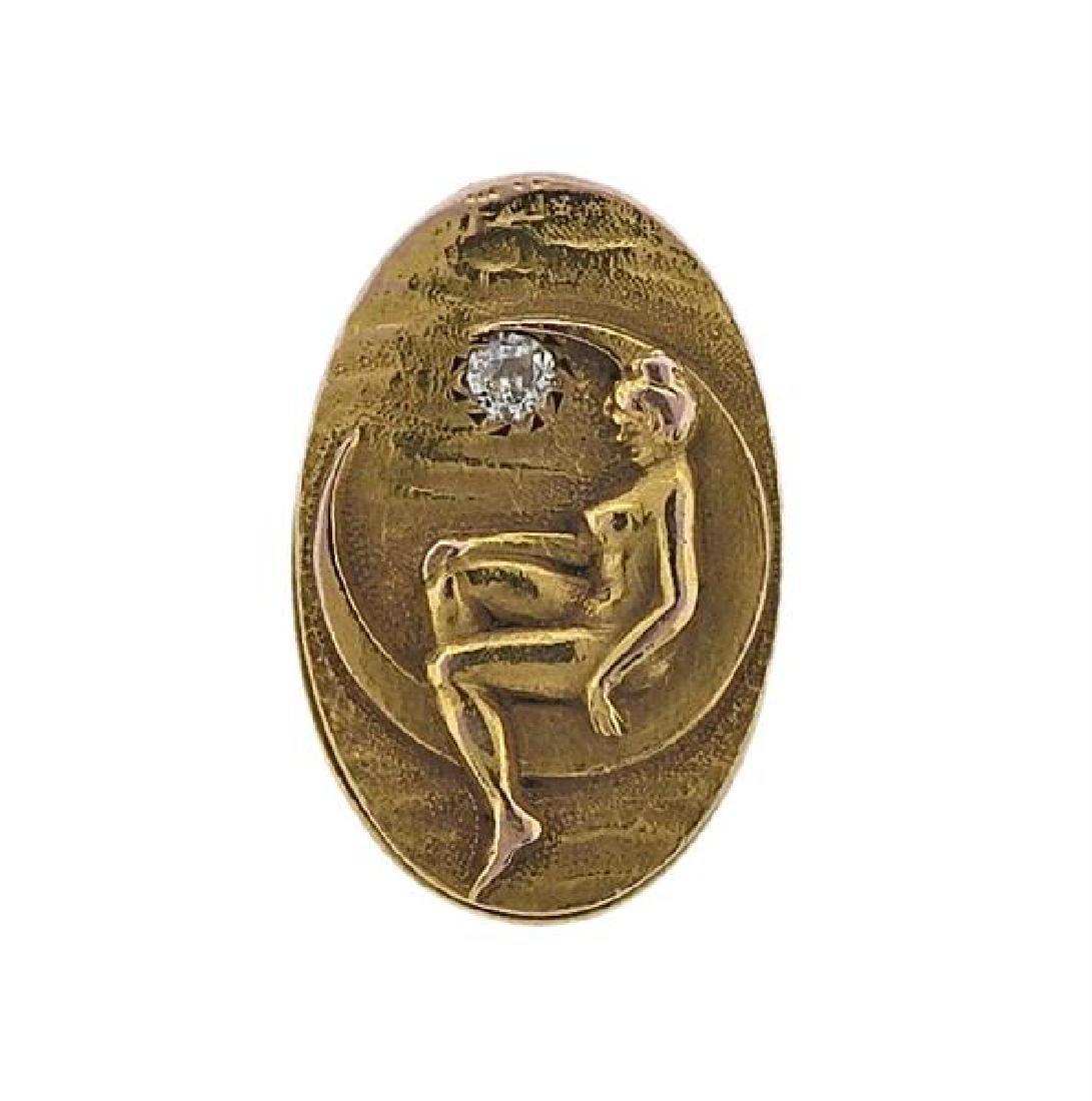 Art Nouveau 14K Gold Diamond Clip