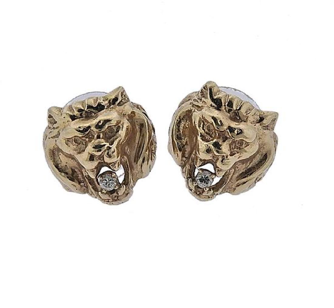 14K Gold Diamond Lion Head Earrings