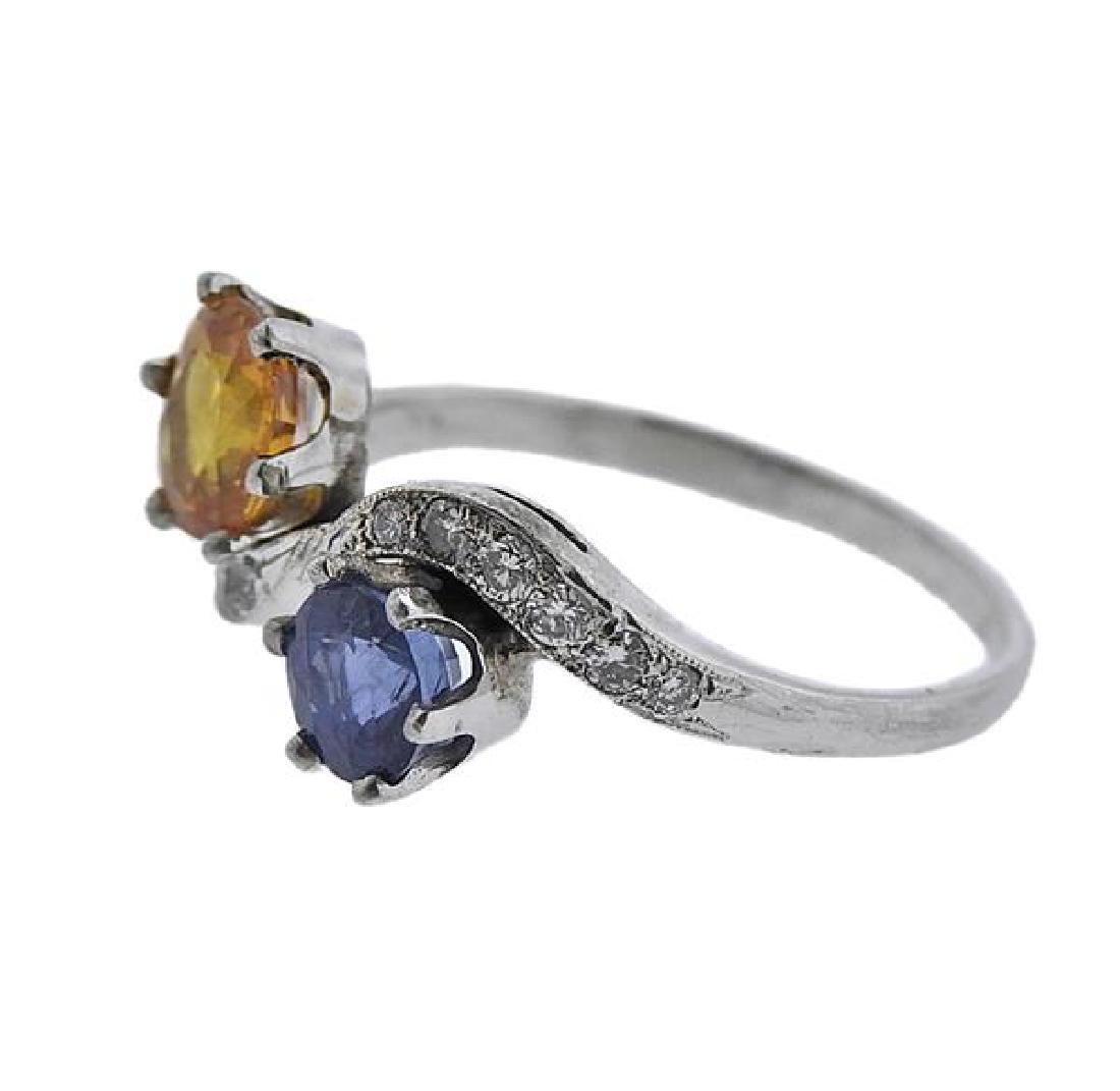 Platinum Diamond Sapphire Ring - 2