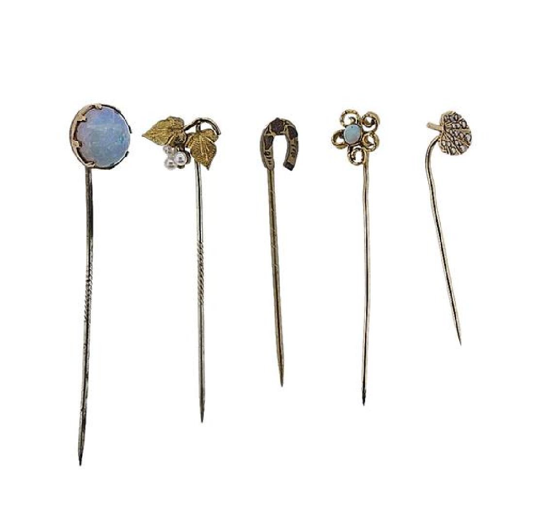 Antique Gold Opal Pearl Stick Pin Lot of 5