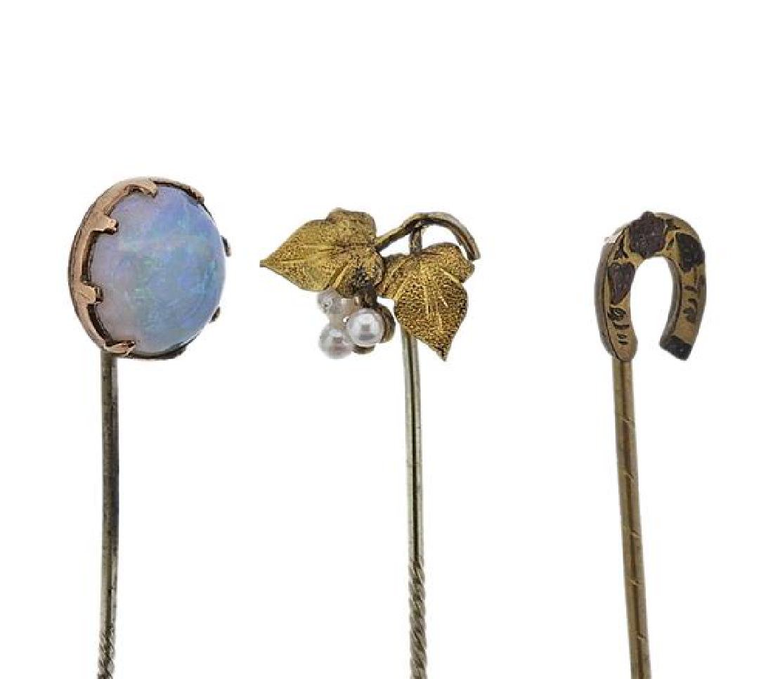 Antique Gold Opal Pearl Stick Pin Lot of 5 - 2