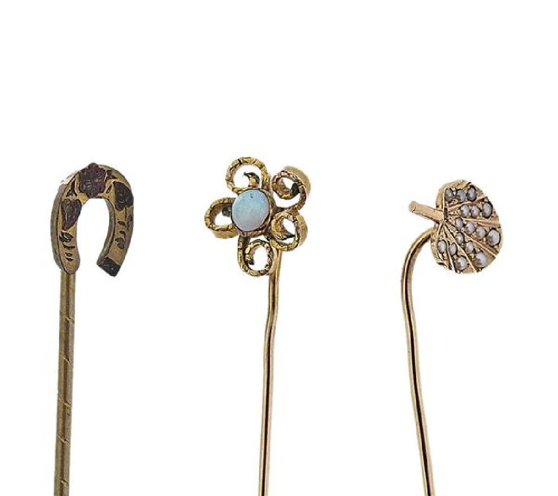 Antique Gold Opal Pearl Stick Pin Lot of 5 - 3