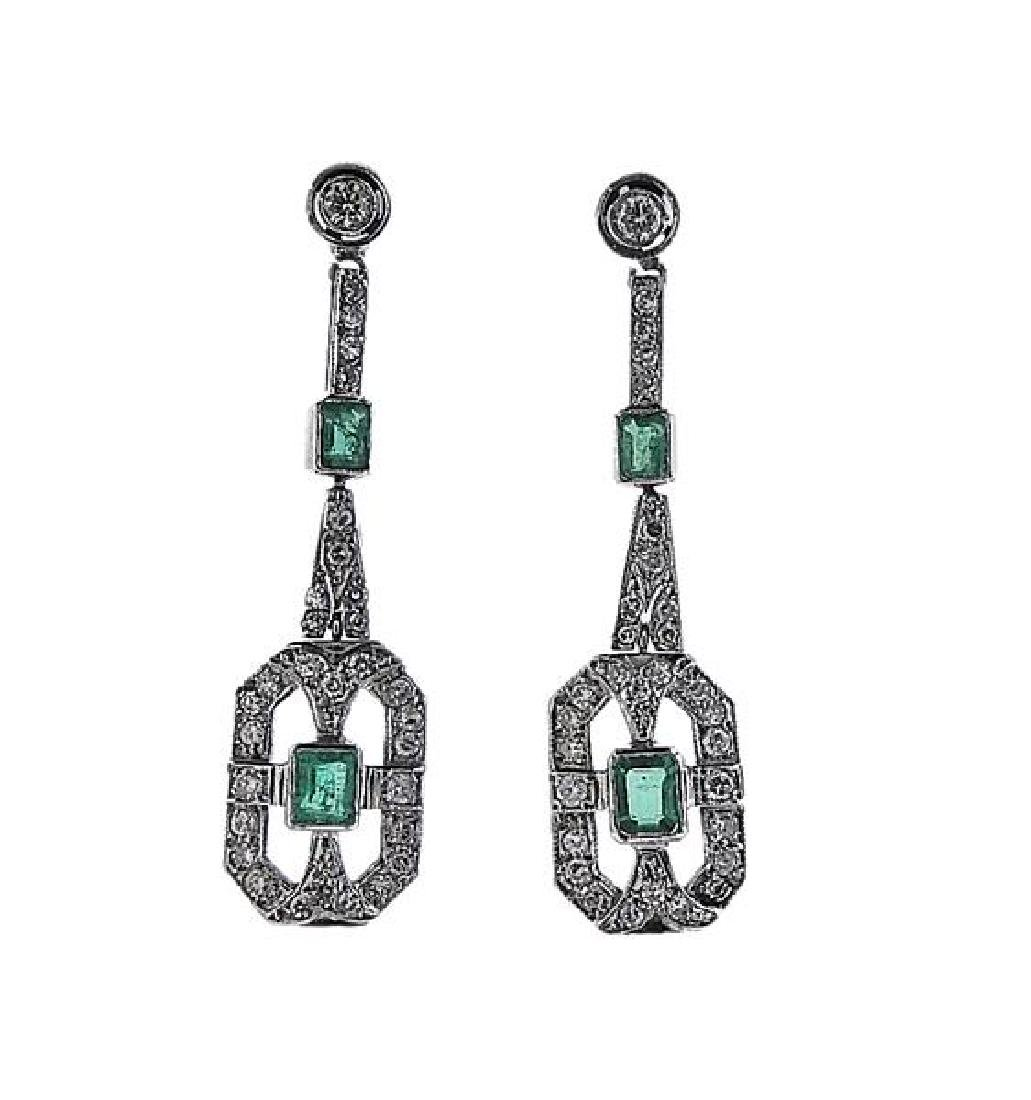 Art Deco Platinum Diamond Emerald Drop Earrings