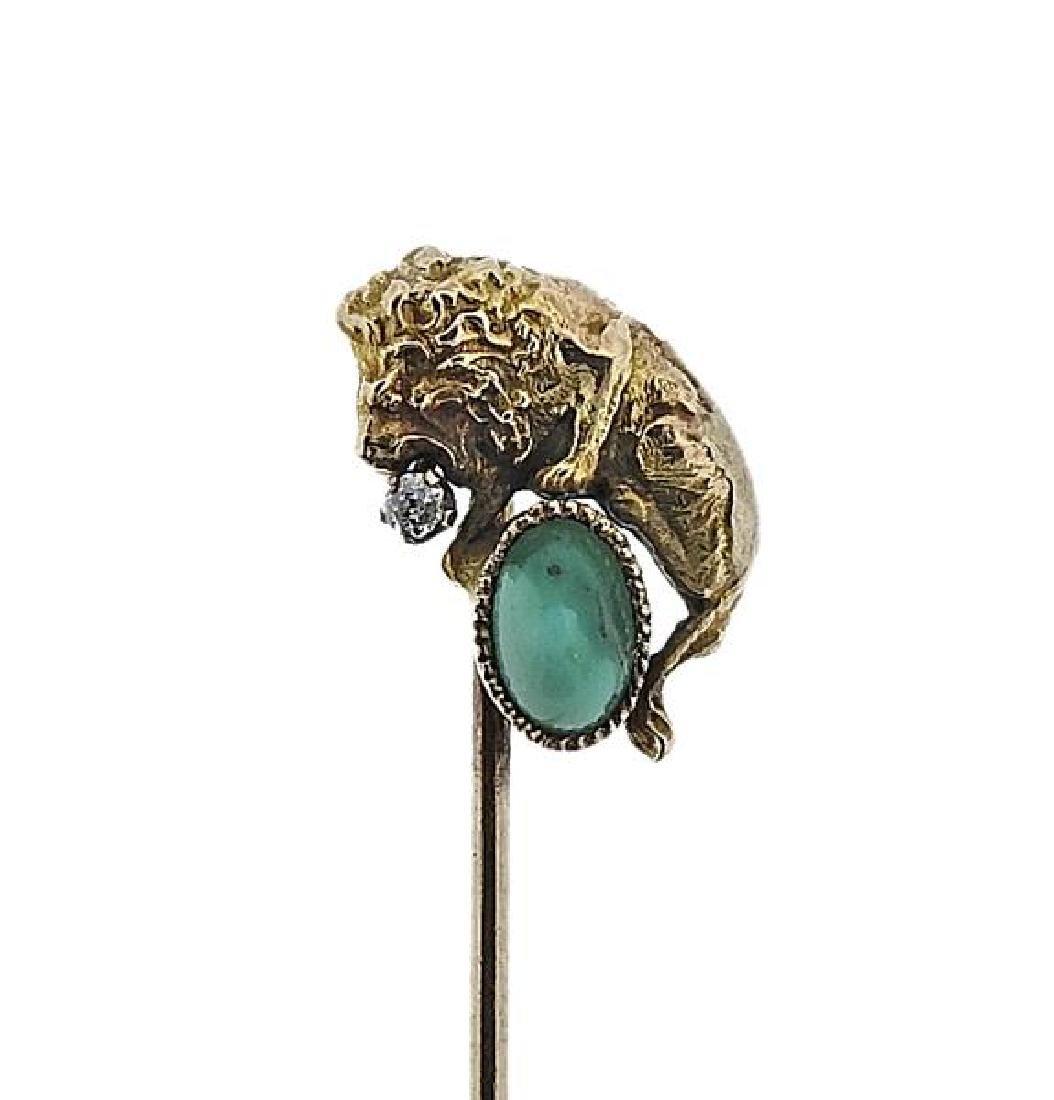 Antique 14K Gold Diamond Green Stone Lion Stick Pin - 2