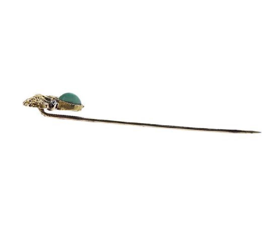 Antique 14K Gold Diamond Green Stone Lion Stick Pin - 3