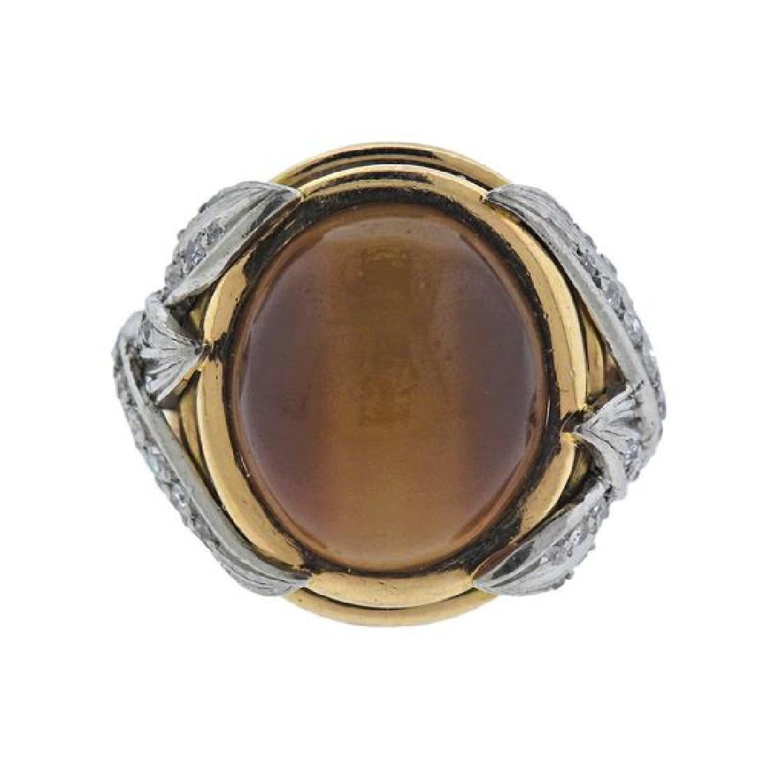 1960s 18K Gold Platinum Diamond Tiger's Eye Ring