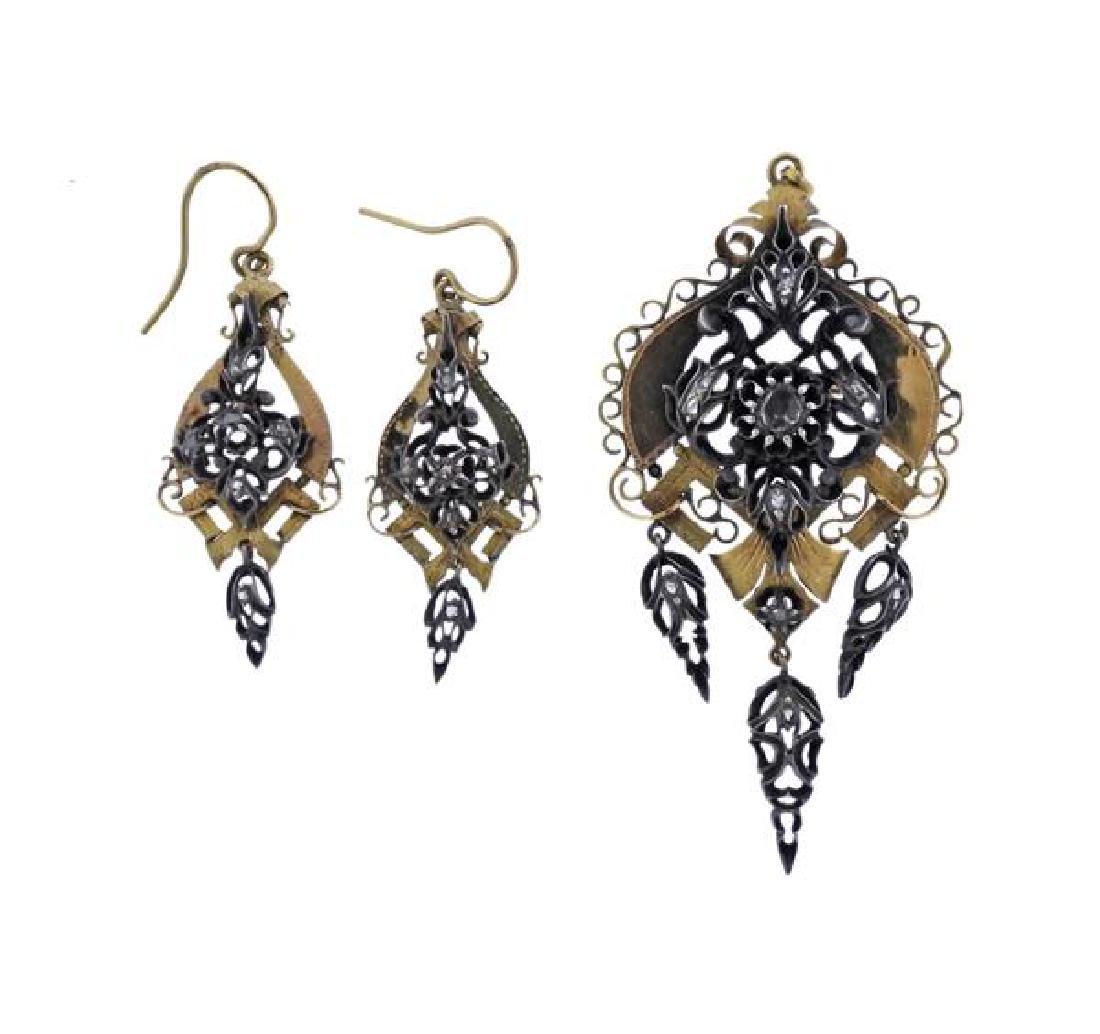 Antique Gold Silver Diamond Earrings Brooch Set